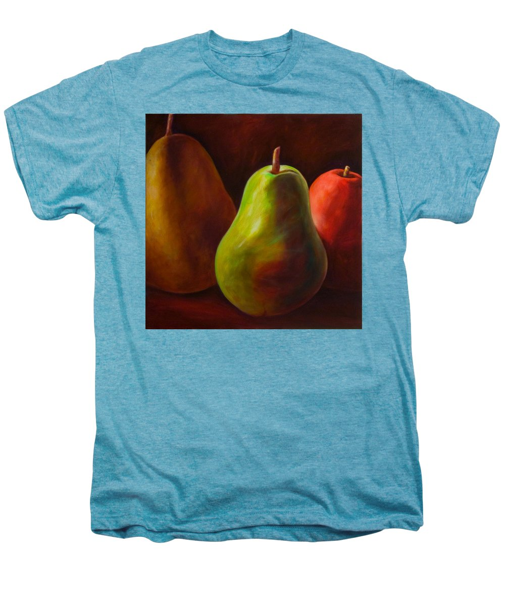 Fruit Men's Premium T-Shirt featuring the painting Tri Pear by Shannon Grissom