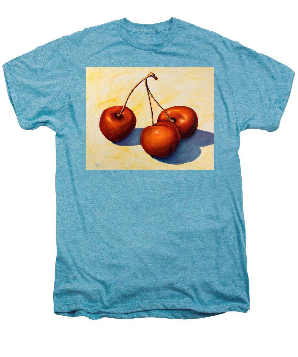 Cherries Men's Premium T-Shirt featuring the painting Trilogy by Shannon Grissom