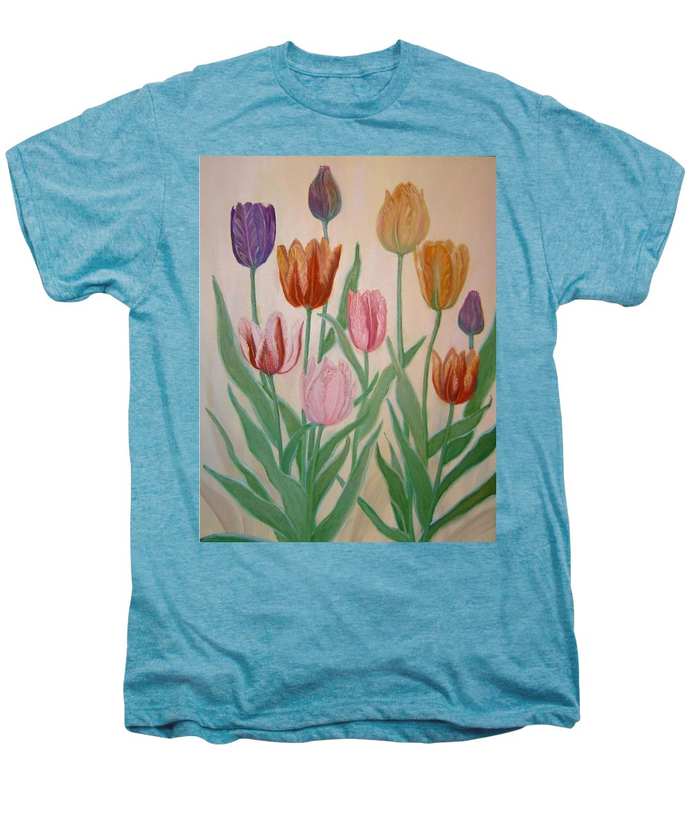 Flowers Of Spring Men's Premium T-Shirt featuring the painting Tulips by Ben Kiger