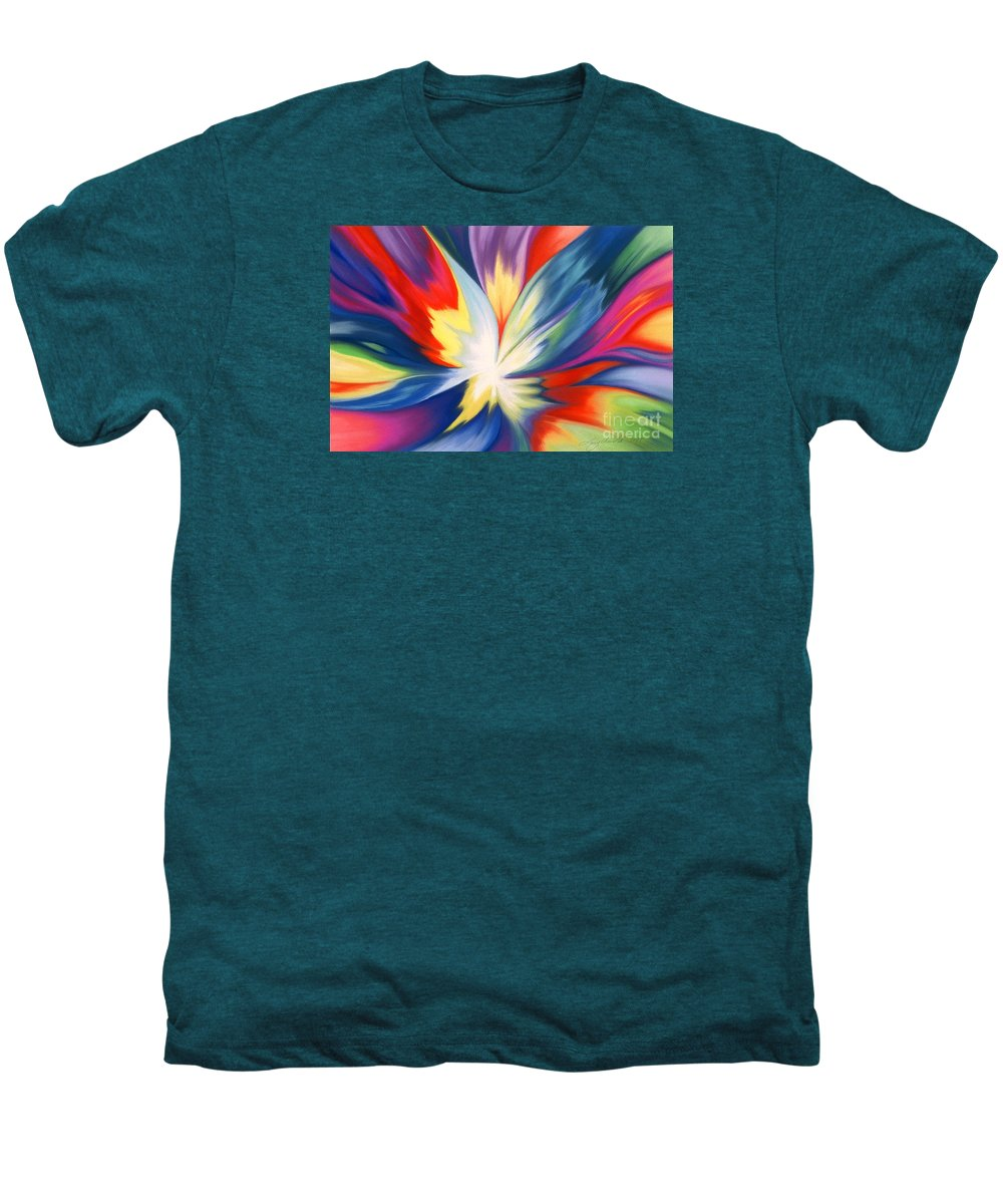 Abstract Men's Premium T-Shirt featuring the painting Burst Of Joy by Lucy Arnold