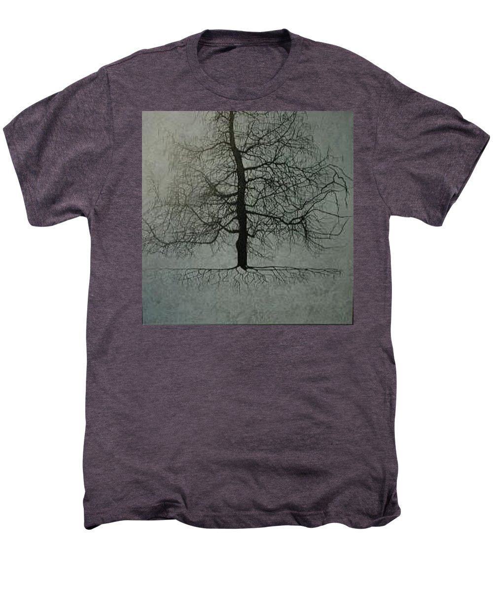 Silhouette Men's Premium T-Shirt featuring the painting Untitled Blue by Leah Tomaino