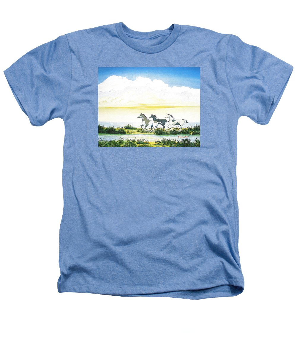 Chincoteague Heathers T-Shirt featuring the painting Indian Ponies by Jerome Stumphauzer