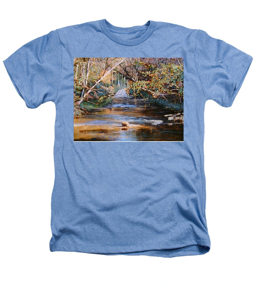 River; Waterfalls Heathers T-Shirt featuring the painting My Secret Place by Ben Kiger
