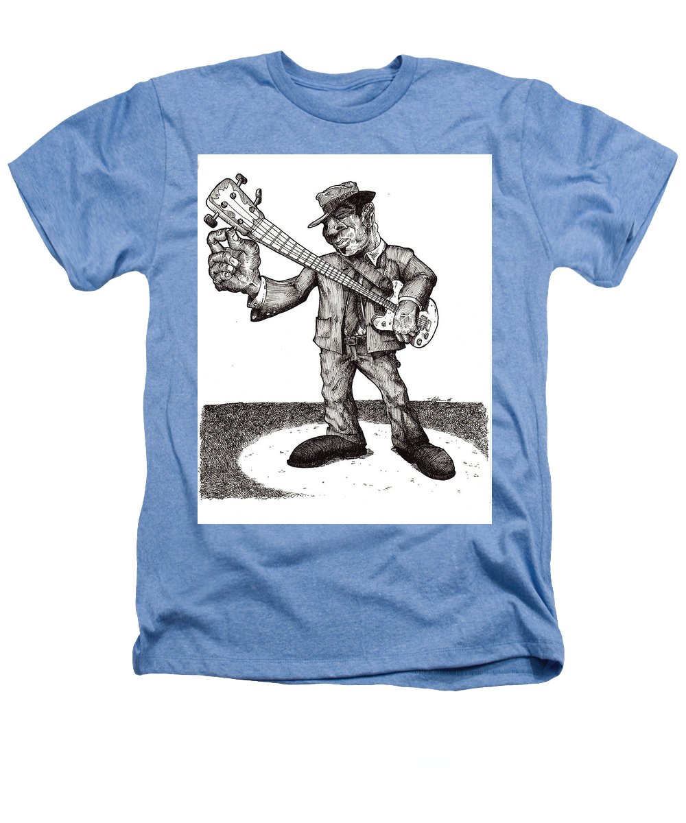 Blues Heathers T-Shirt featuring the drawing Bass by Tobey Anderson