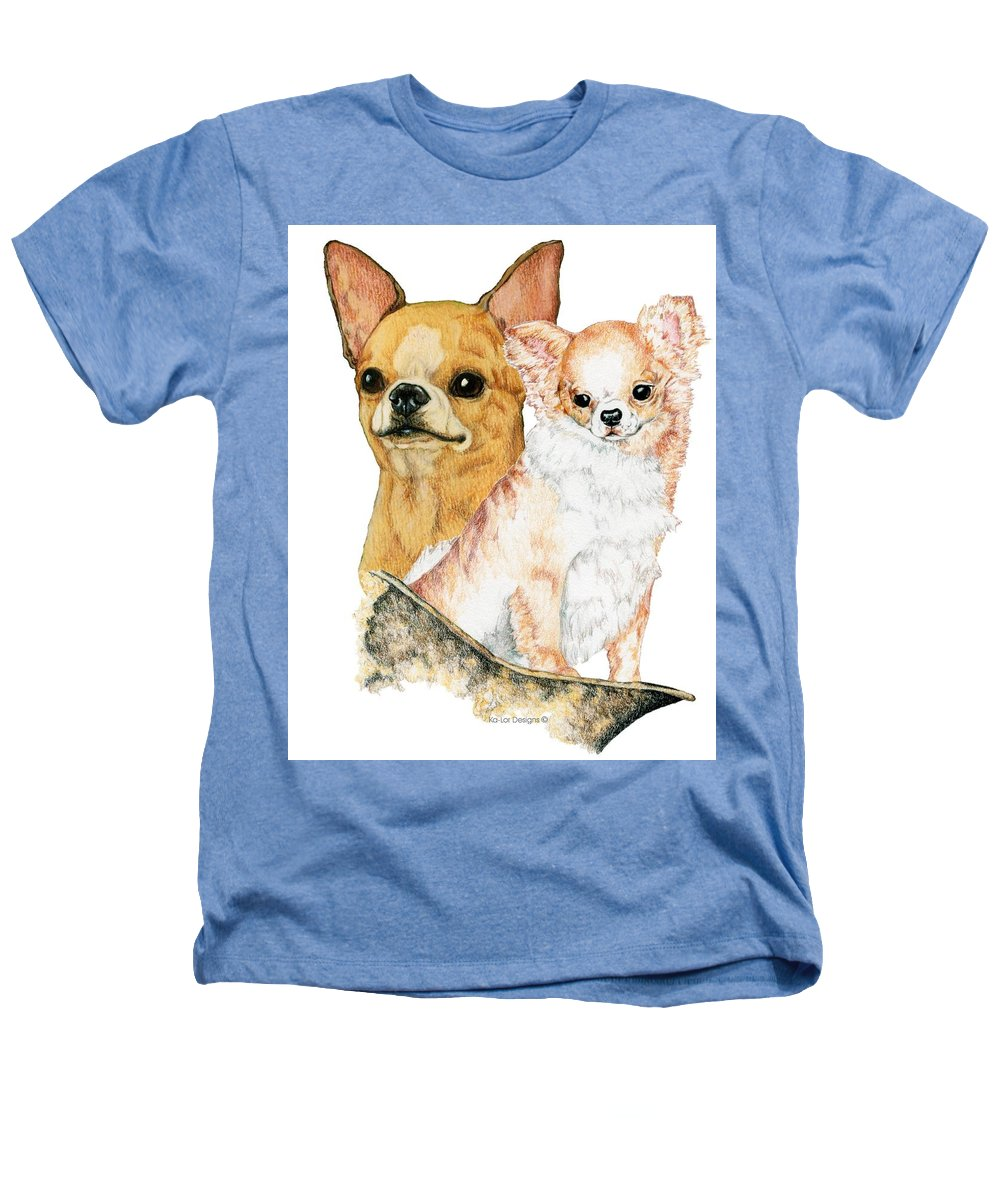 Chihuahua Heathers T-Shirt featuring the drawing Chihuahuas by Kathleen Sepulveda