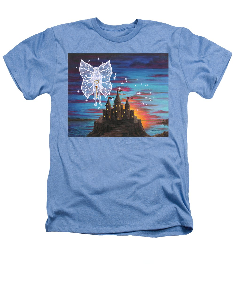 Fantasy Heathers T-Shirt featuring the painting Fairy Takes The Key by Roz Eve
