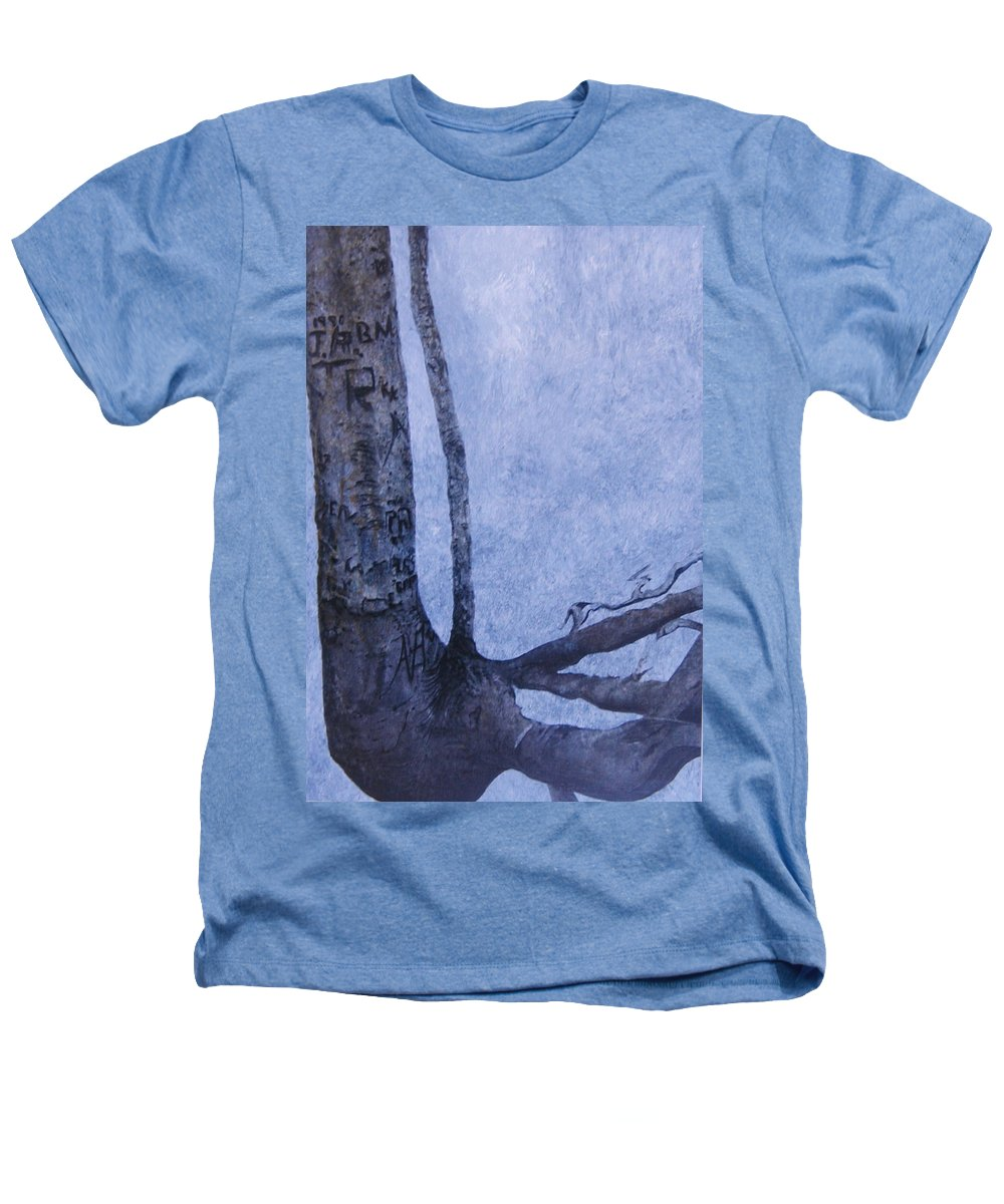 Tree Trunk Heathers T-Shirt featuring the painting Hedden Park II by Leah Tomaino