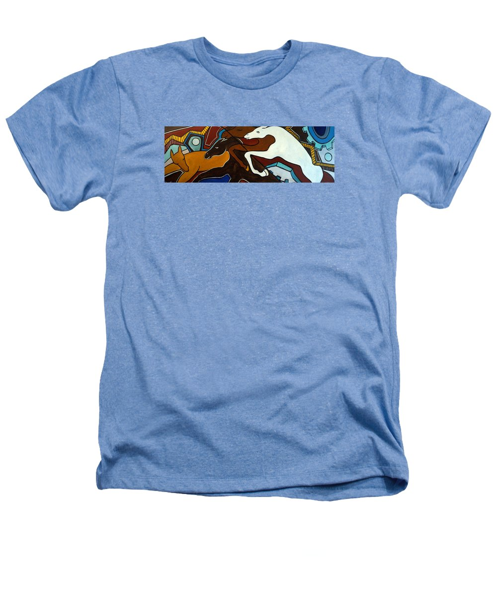 Horse Abstract Heathers T-Shirt featuring the painting Taffy Horses by Valerie Vescovi