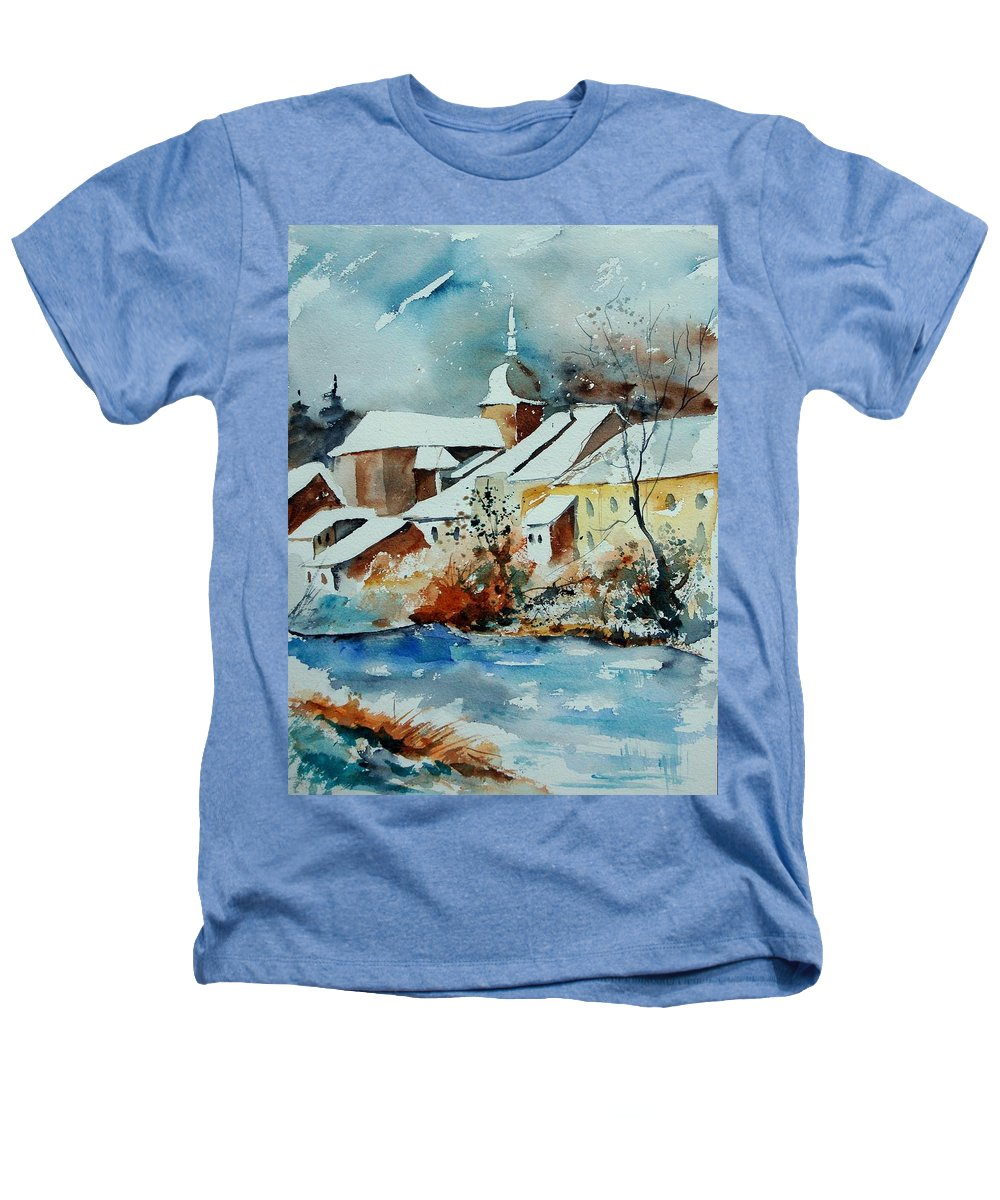 Landscape Heathers T-Shirt featuring the painting Watercolor Chassepierre by Pol Ledent