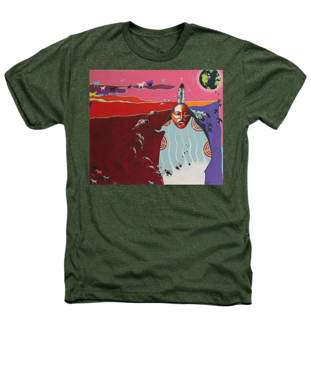 Native American Heathers T-Shirt featuring the painting Creation by Joe Triano