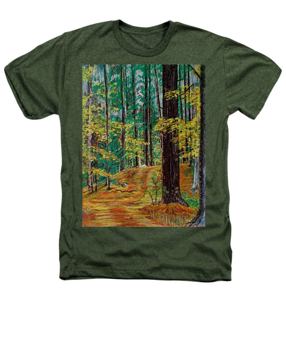 New Hampshire Heathers T-Shirt featuring the painting Trail At Wason Pond by Sean Connolly
