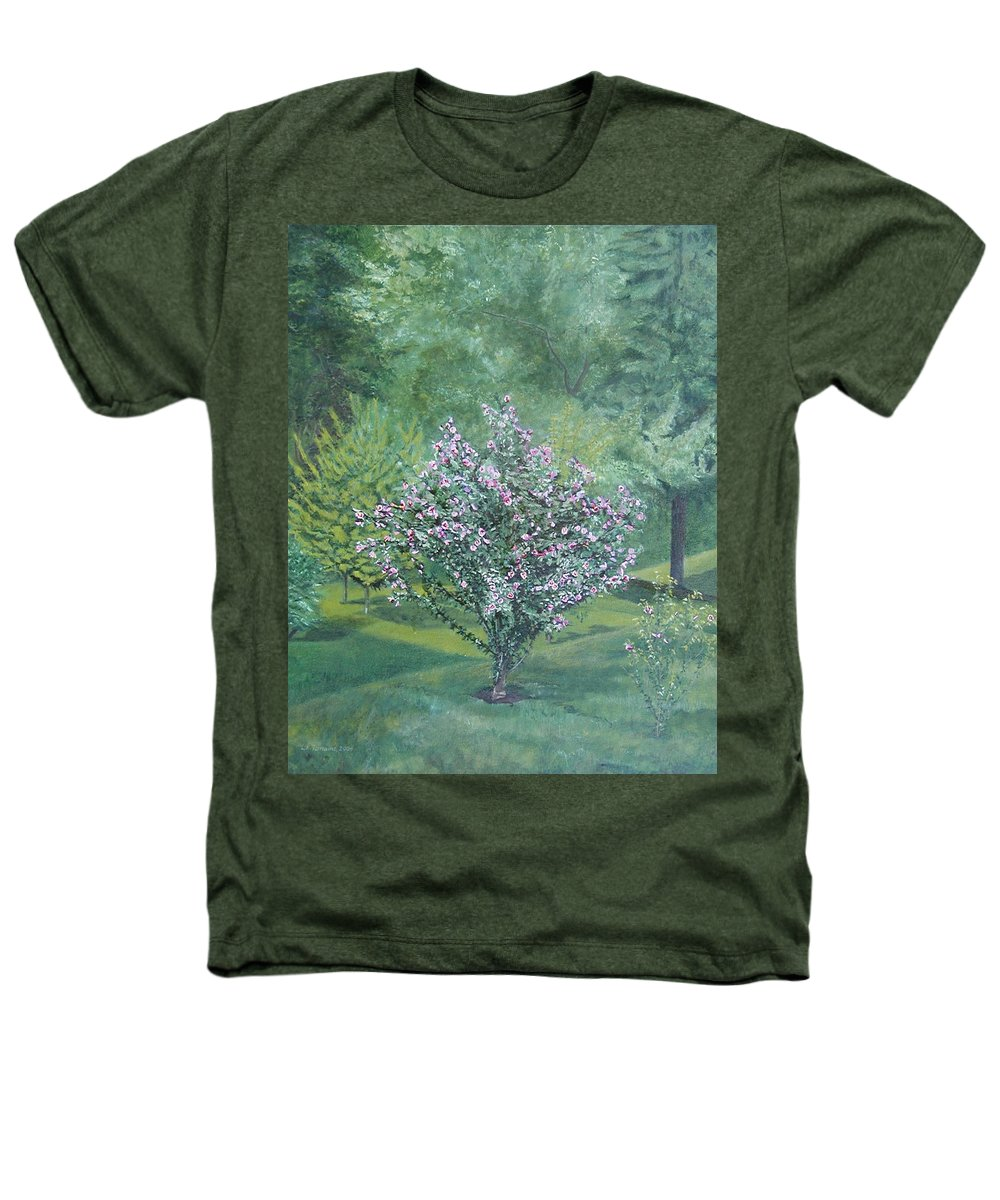 Blooming Heathers T-Shirt featuring the painting Charles Street by Leah Tomaino
