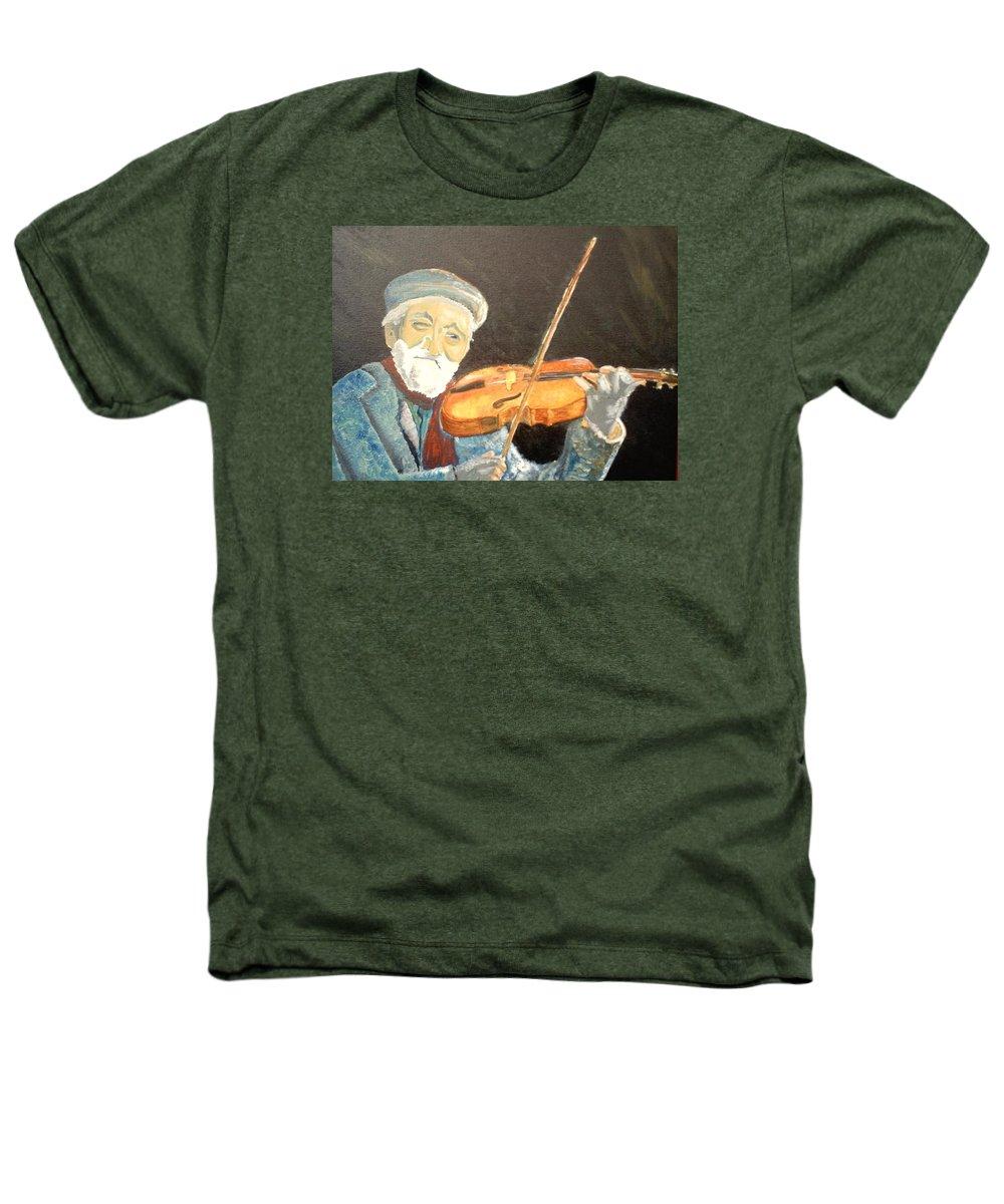 Hungry He Plays For His Supper Heathers T-Shirt featuring the painting Fiddler Blue by J Bauer