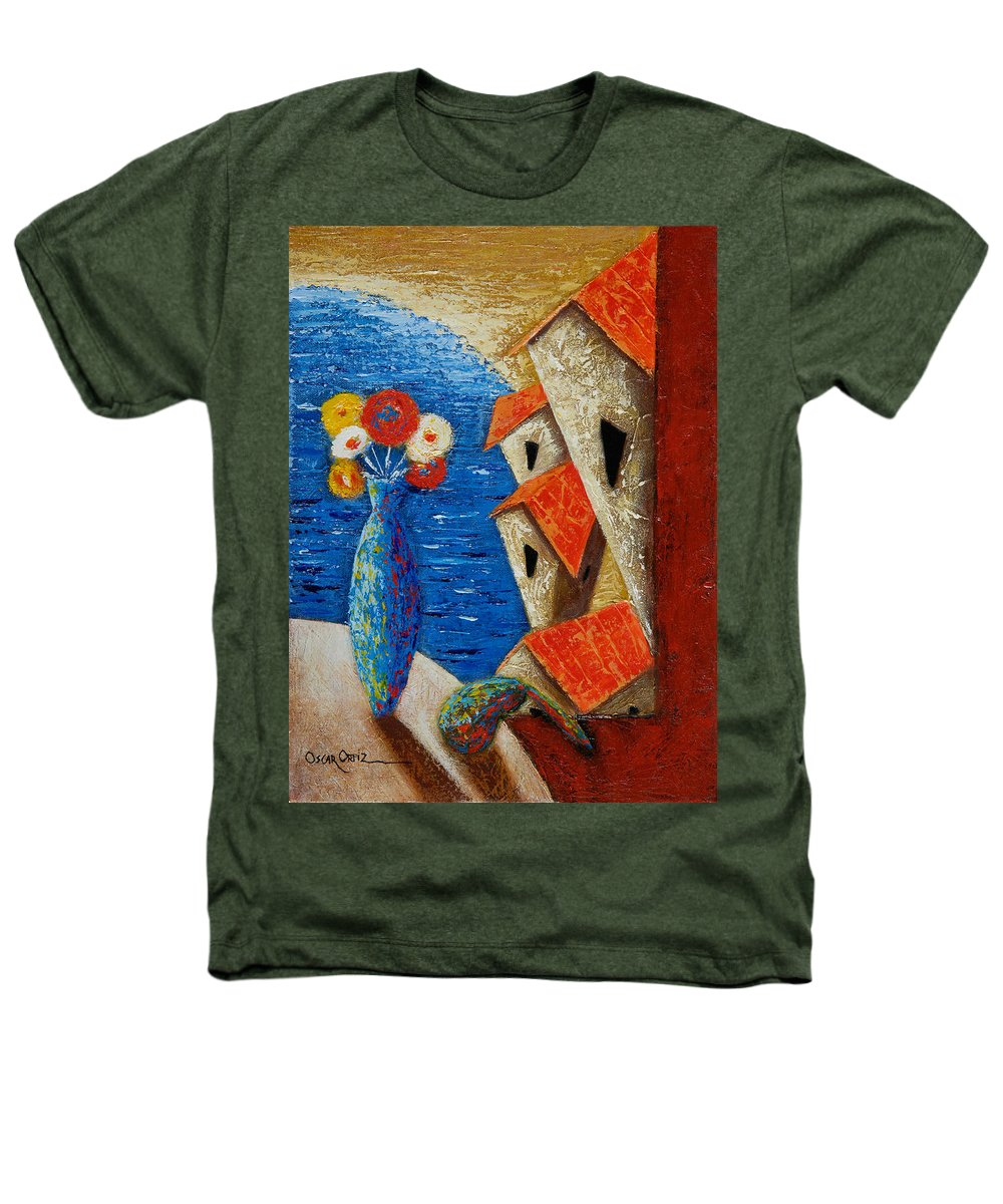 Landscape Heathers T-Shirt featuring the painting Ventana Al Mar by Oscar Ortiz