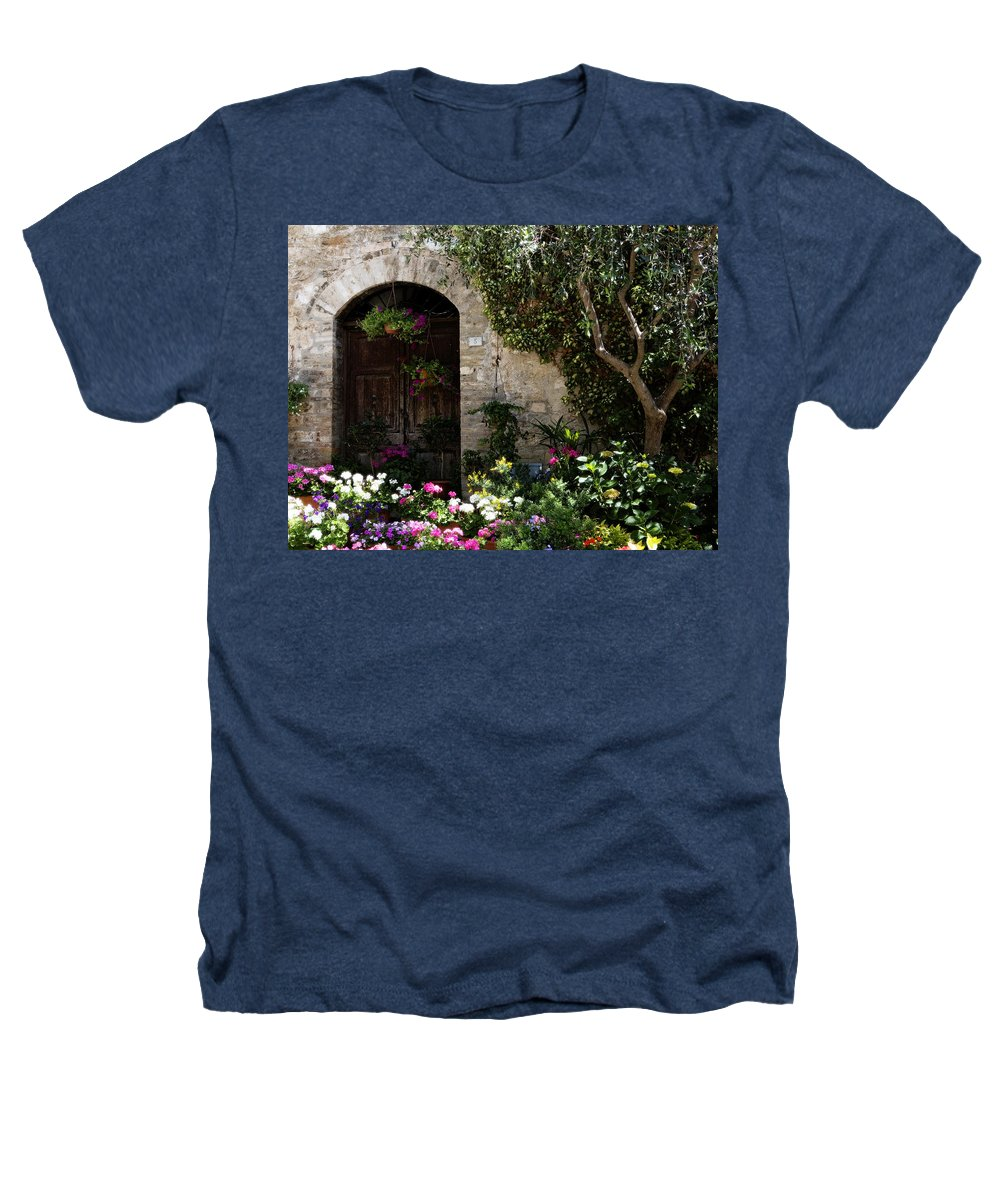 Flower Heathers T-Shirt featuring the photograph Italian Front Door Adorned With Flowers by Marilyn Hunt