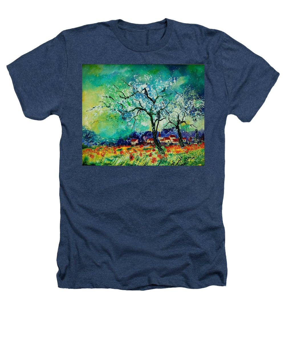 Landscape Heathers T-Shirt featuring the painting Poppies And Appletrees In Blossom by Pol Ledent