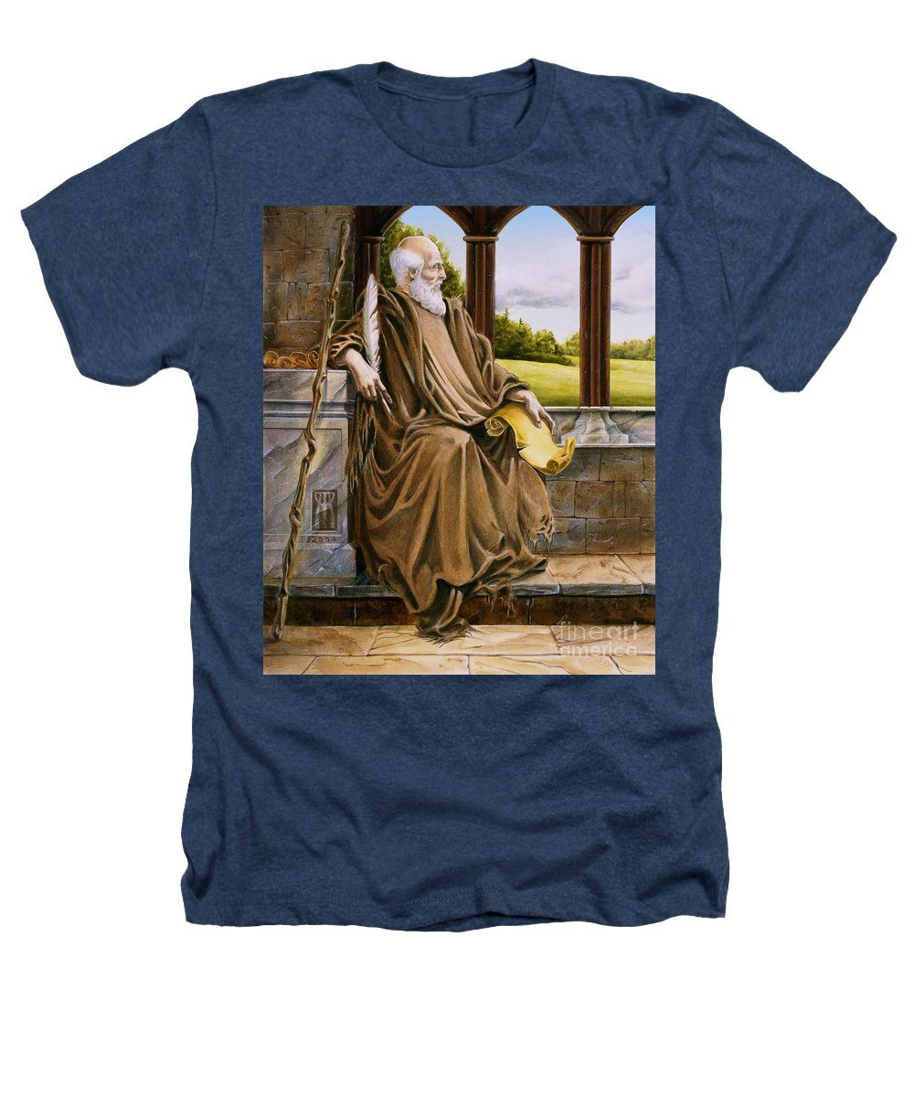 Wise Man Heathers T-Shirt featuring the painting The Hermit Nascien by Melissa A Benson