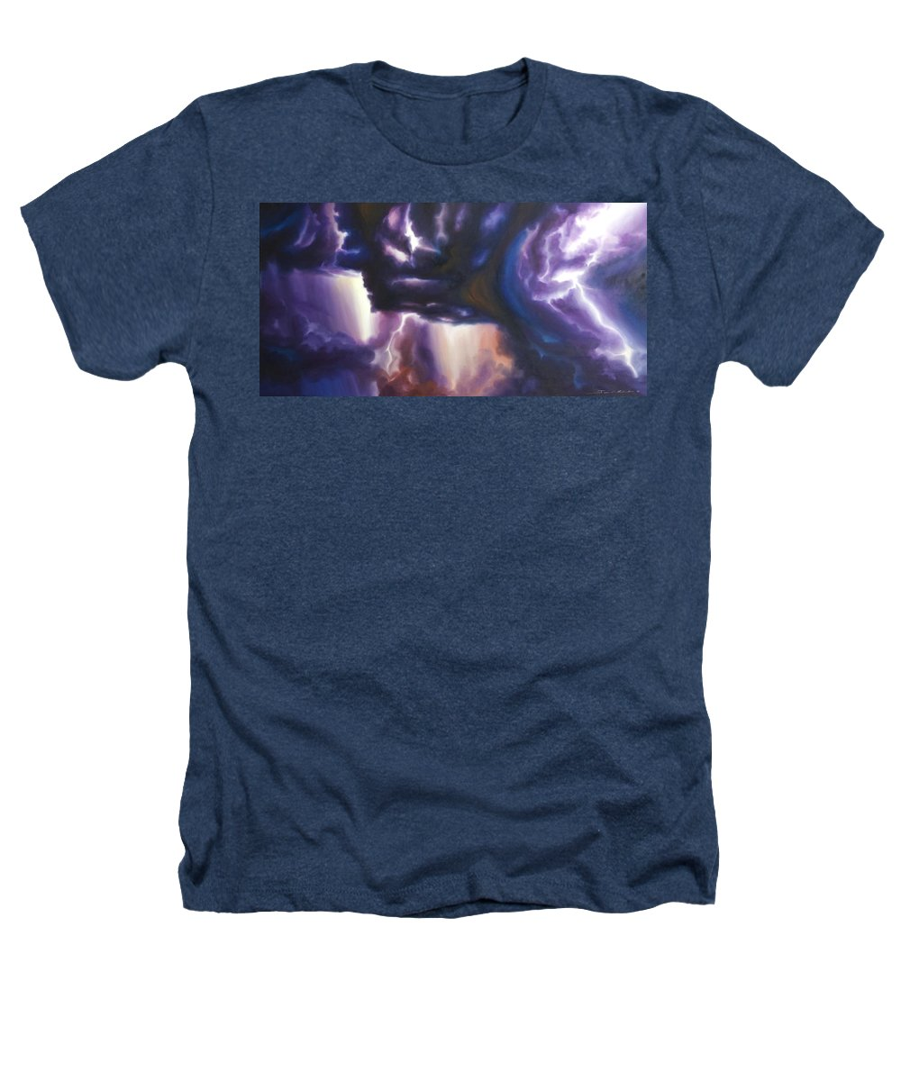 Tempest Heathers T-Shirt featuring the painting The Lightning by James Christopher Hill