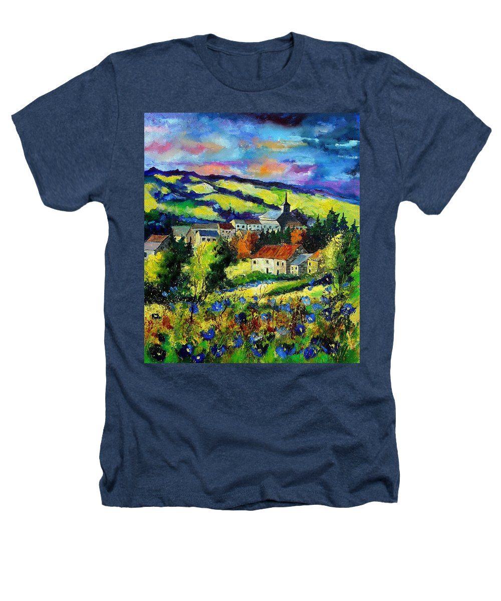 Landscape Heathers T-Shirt featuring the painting Village And Blue Poppies by Pol Ledent