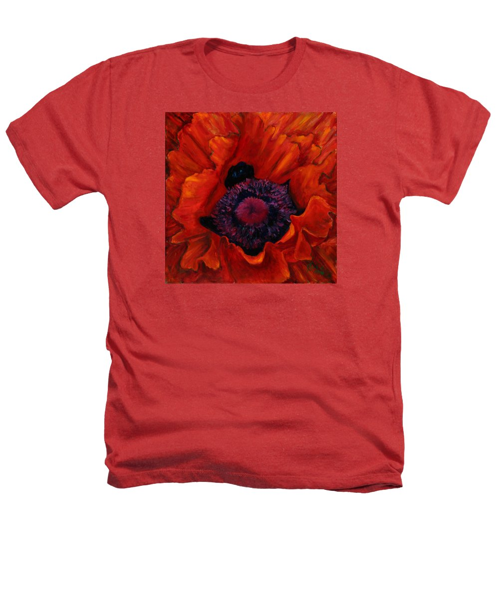 Red Poppy Heathers T-Shirt featuring the painting Close Up Poppy by Billie Colson