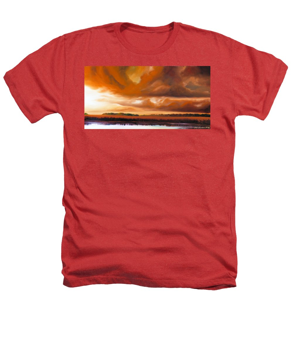 Clouds Heathers T-Shirt featuring the painting Jetties On The Shore by James Christopher Hill