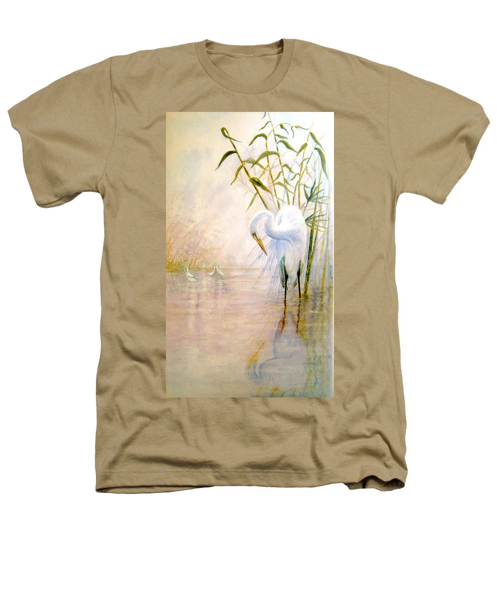 Eret; Bird; Low Country Heathers T-Shirt featuring the painting Egret by Ben Kiger