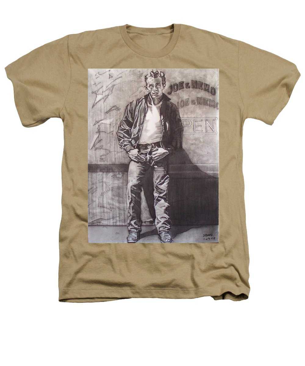 Charcoal; Icon;americana;cool;window;sidewalk;street;rock And Roll;jeans;t-shirt;diner;movie Star Heathers T-Shirt featuring the drawing James Dean by Sean Connolly