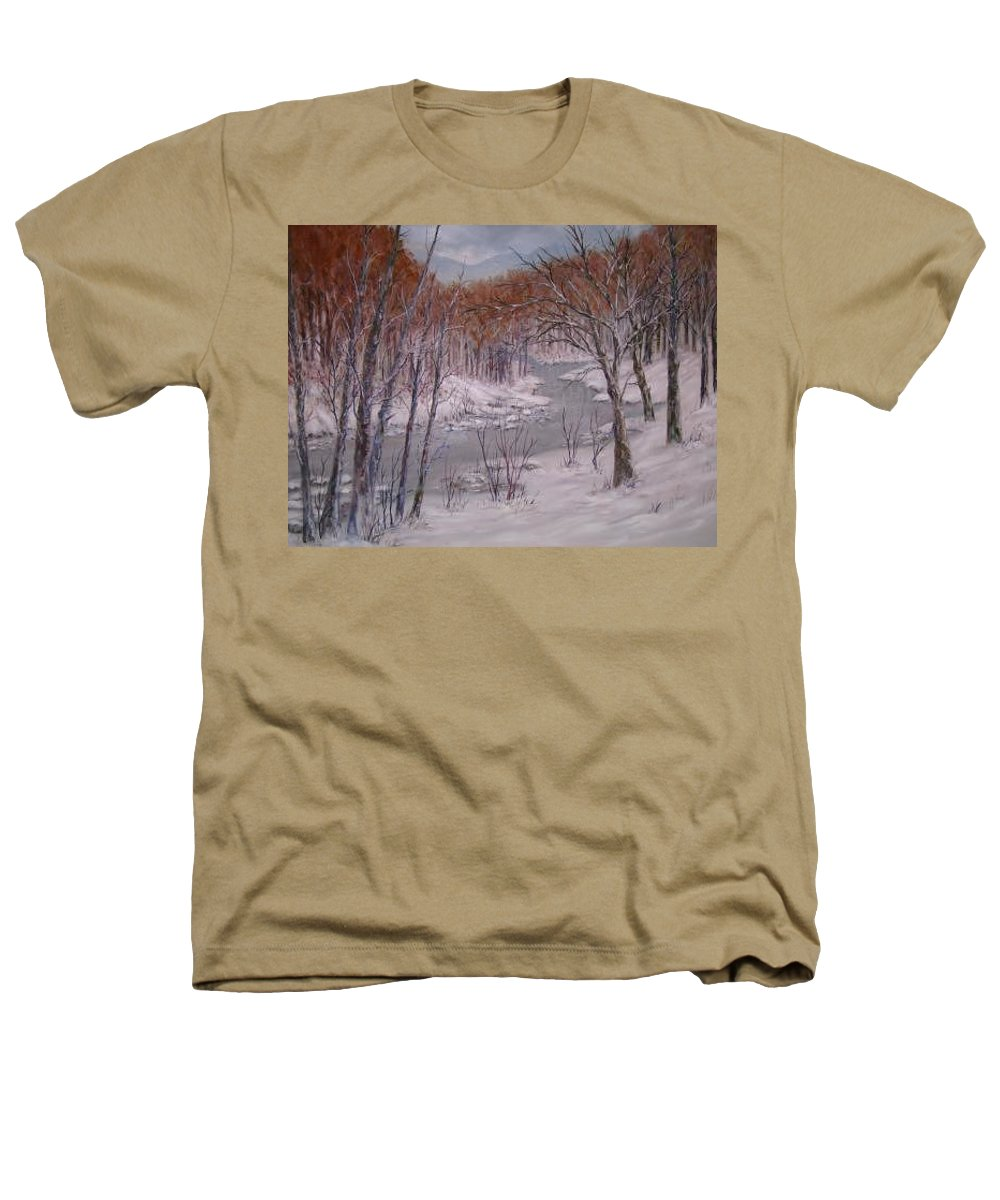 Snow; Landscape Heathers T-Shirt featuring the painting Peace And Quiet by Ben Kiger