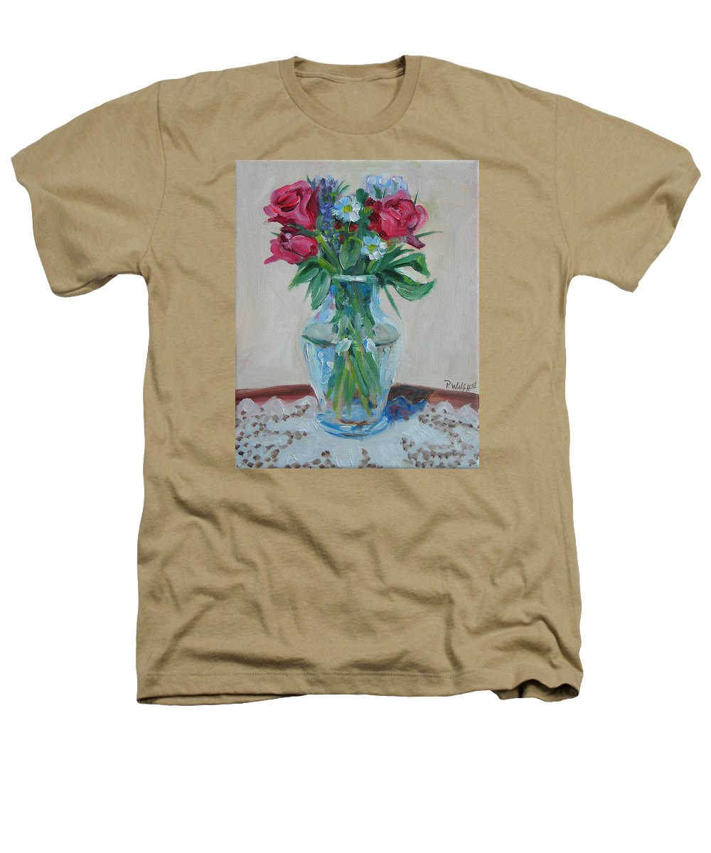 Roses Heathers T-Shirt featuring the painting 3 Roses by Paul Walsh