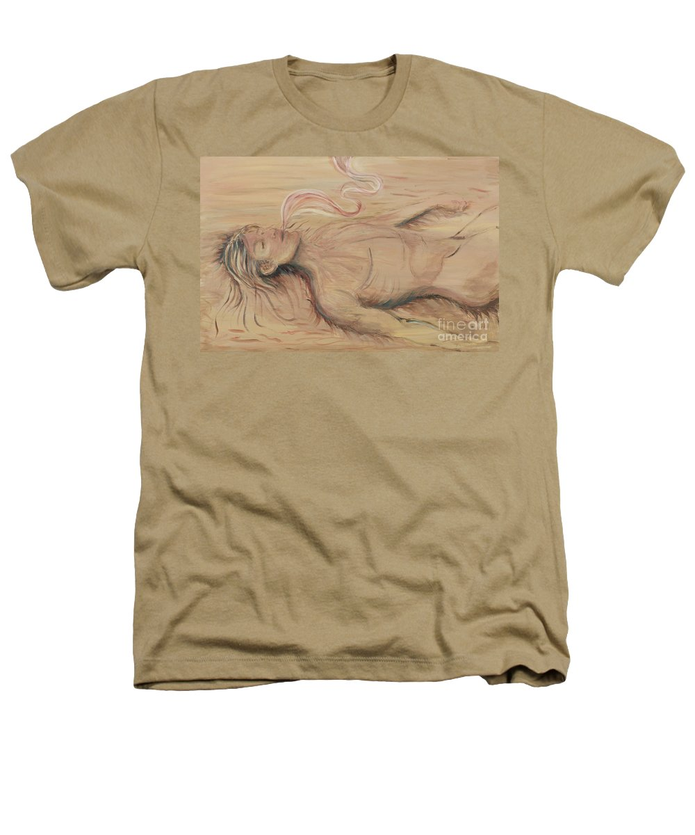 Adam Heathers T-Shirt featuring the painting Adam And The Breath Of God by Nadine Rippelmeyer