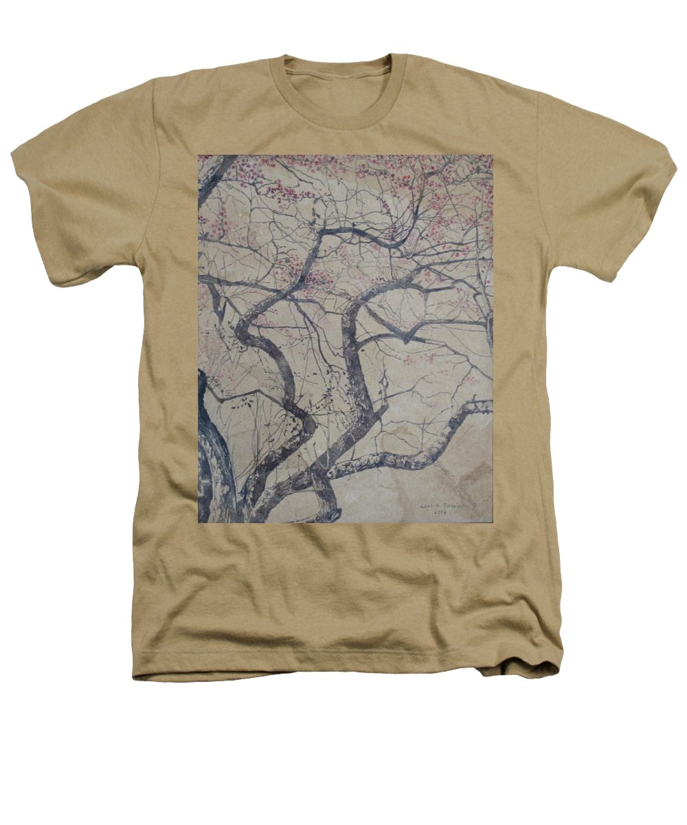 Crab Apple Heathers T-Shirt featuring the painting Prairie Fire by Leah Tomaino