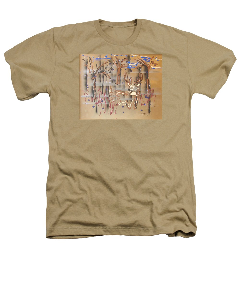 Buck In Tree Line Heathers T-Shirt featuring the painting Everwatchful by J R Seymour