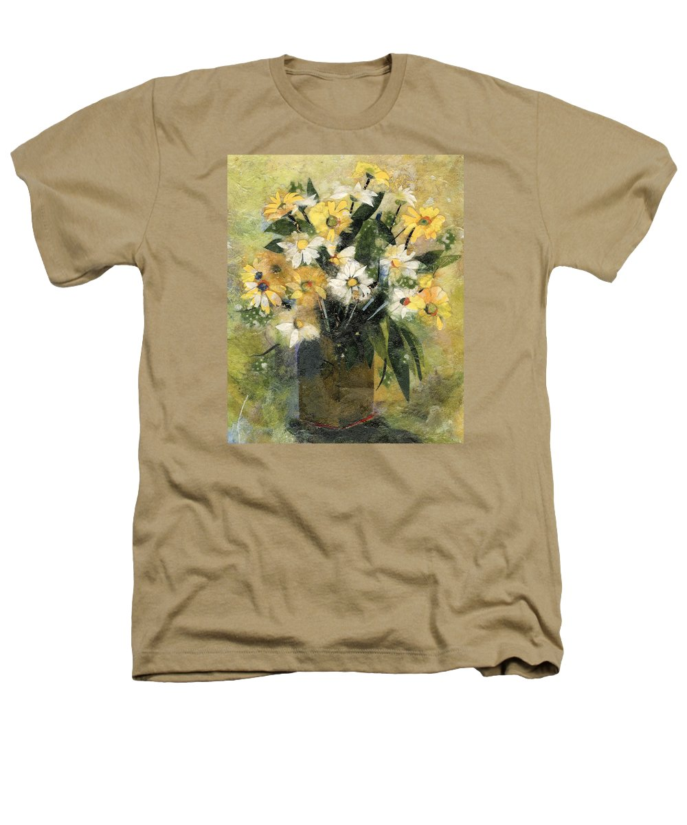 Limited Edition Prints Heathers T-Shirt featuring the painting Flowers In White And Yellow by Nira Schwartz