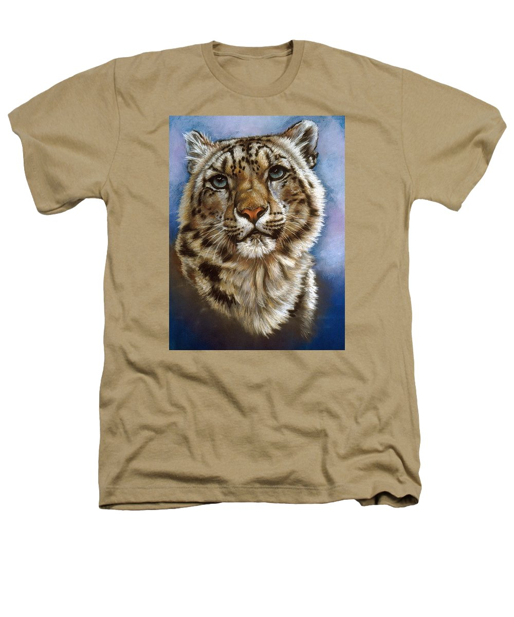 Snow Leopard Heathers T-Shirt featuring the painting Jewel by Barbara Keith