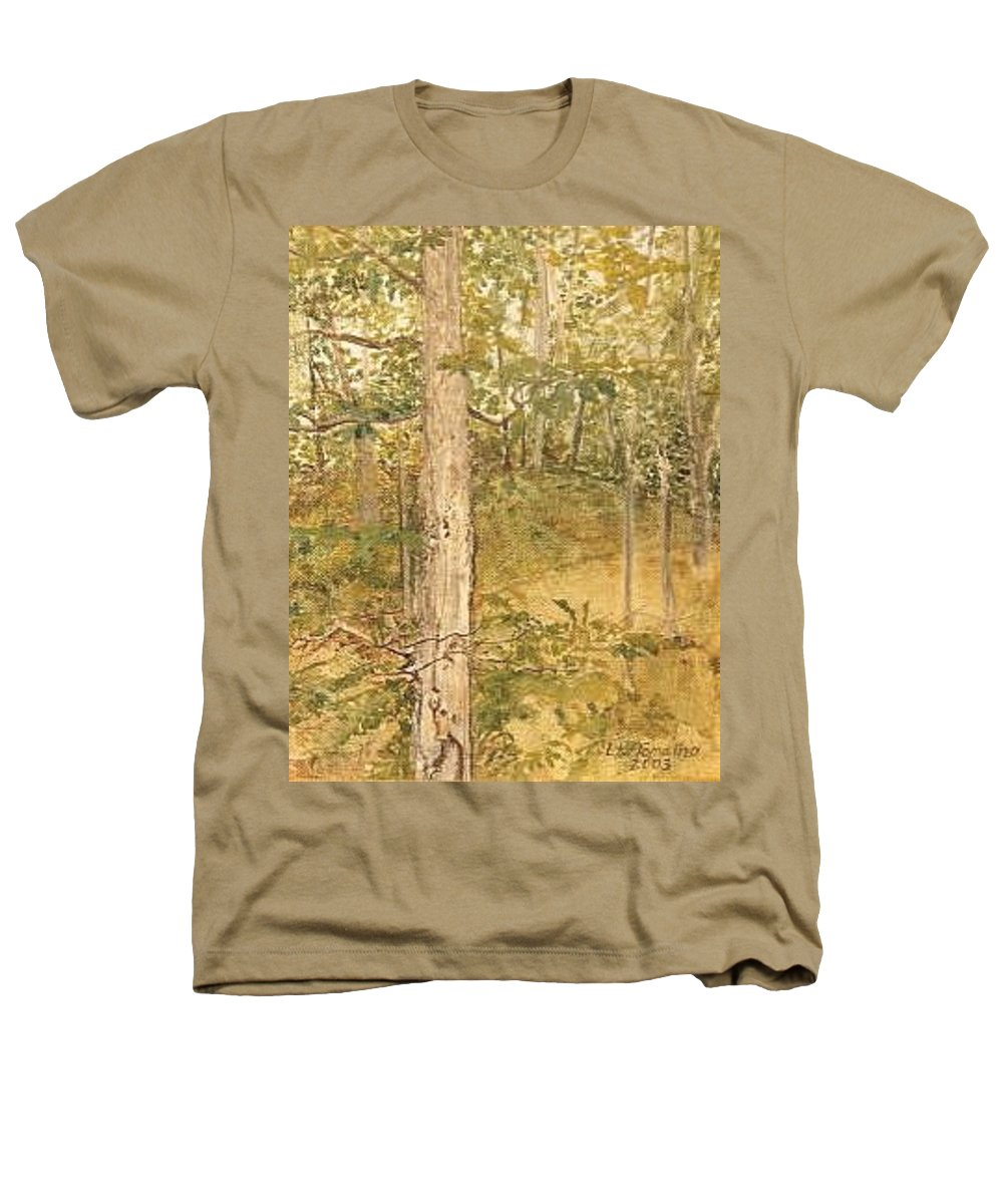 Trees Heathers T-Shirt featuring the painting Raystown Lake by Leah Tomaino