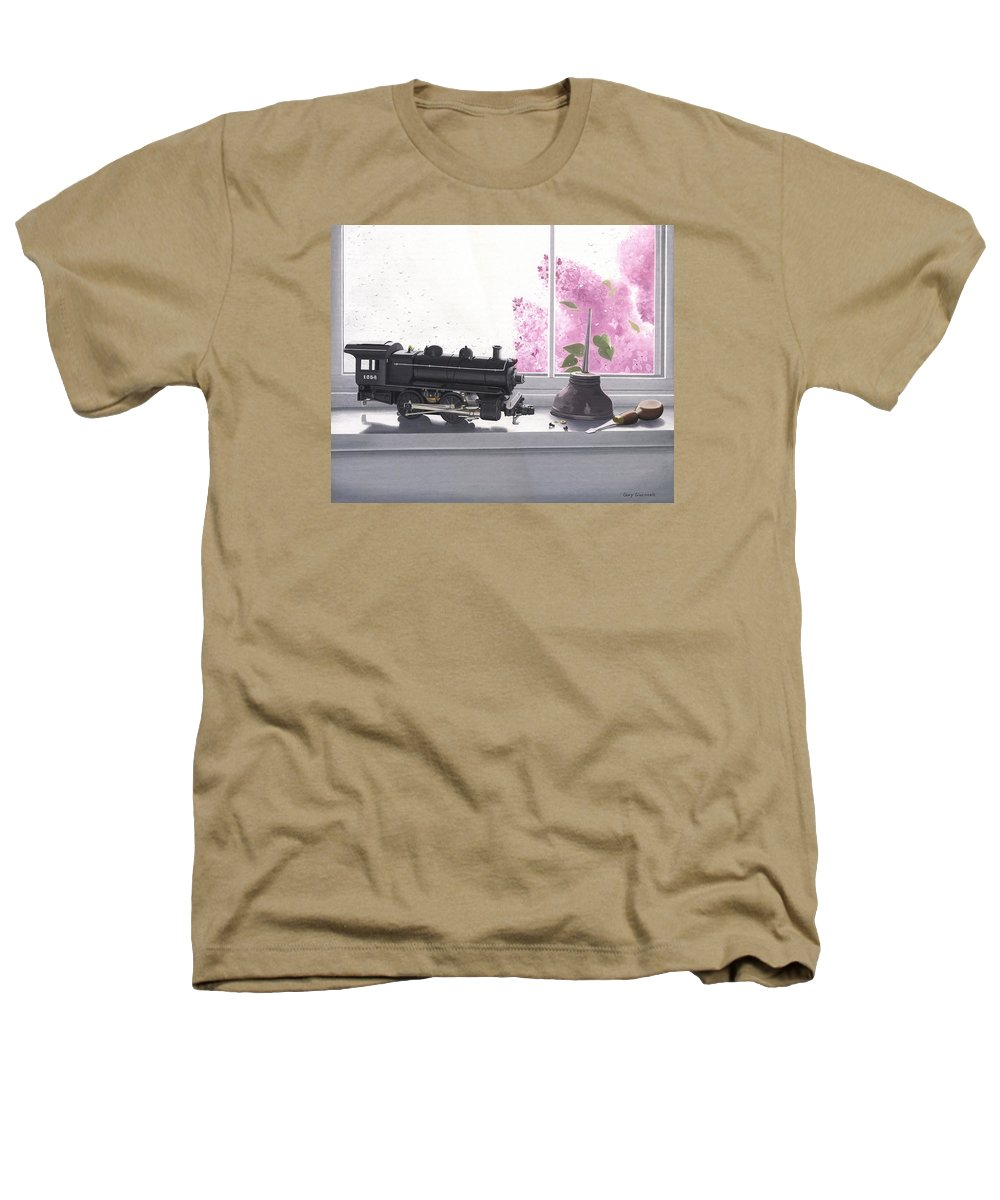 Lionel Heathers T-Shirt featuring the painting Spring Rain Electric Train by Gary Giacomelli