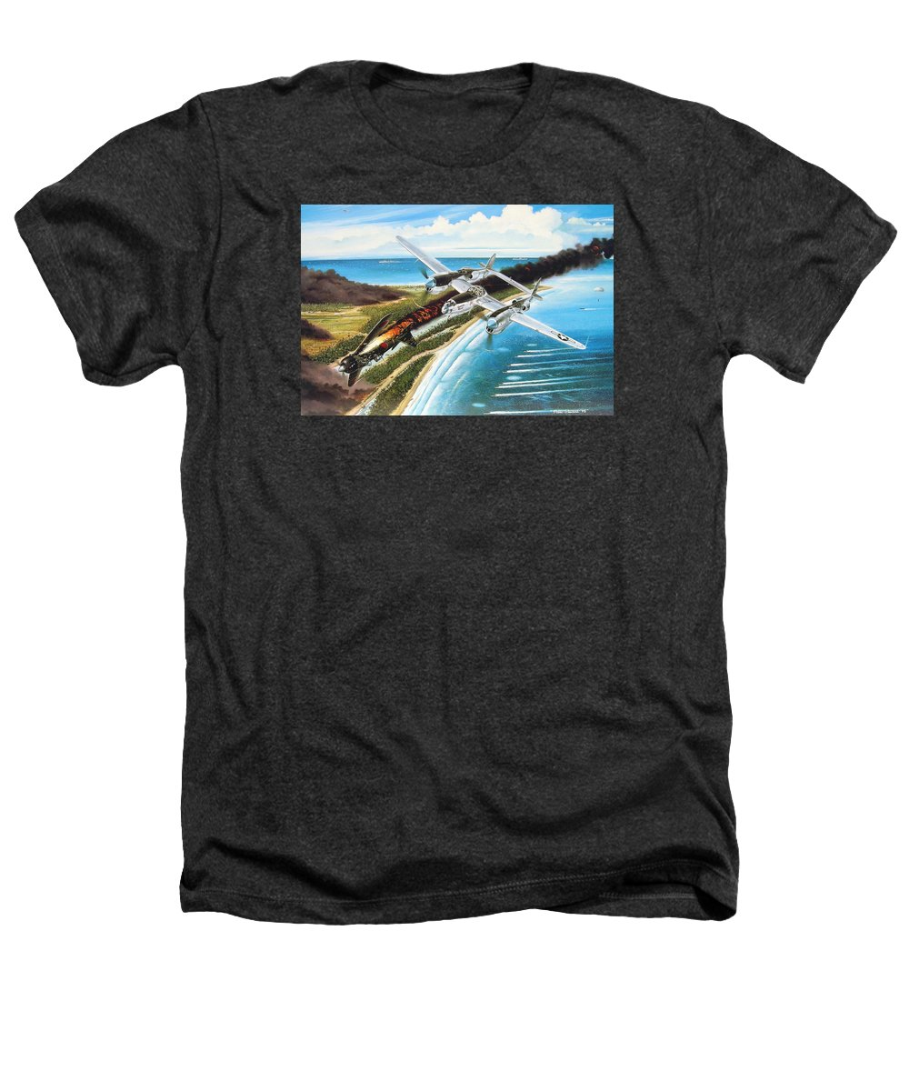 Aviation Heathers T-Shirt featuring the painting Lightning Over Mindoro by Marc Stewart