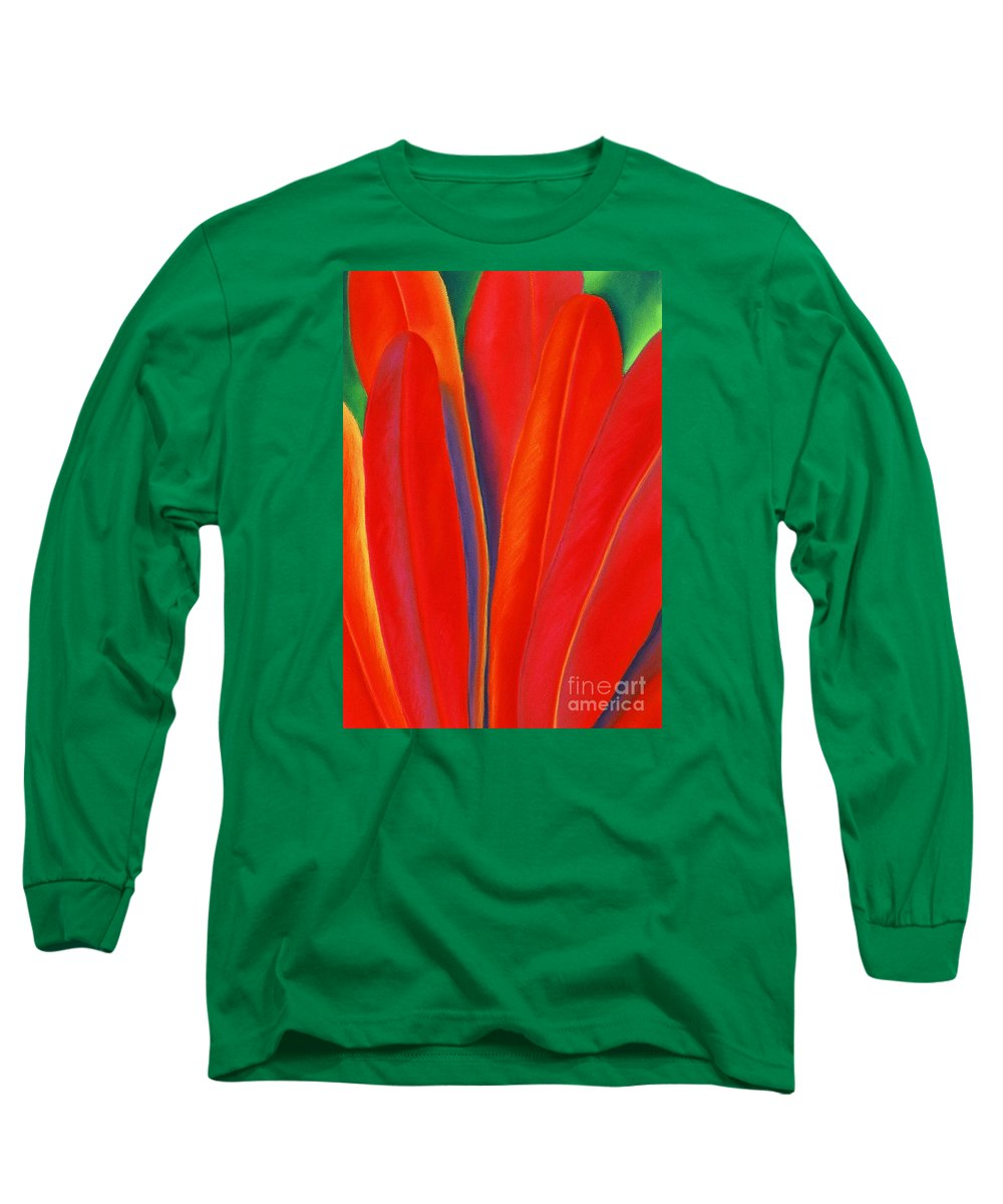 Red Long Sleeve T-Shirt featuring the painting Red Petals by Lucy Arnold