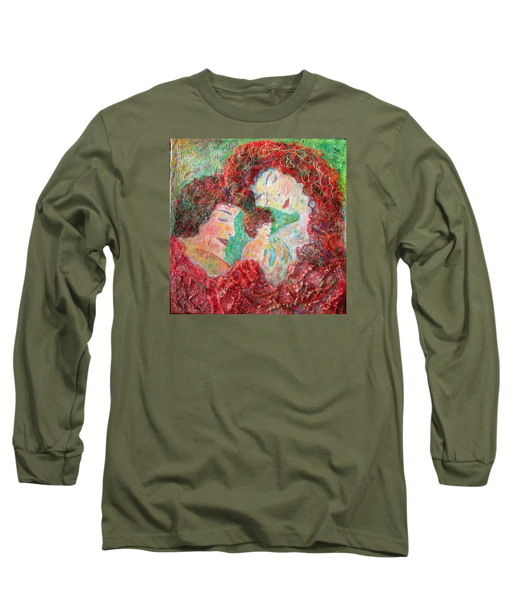 Mother Long Sleeve T-Shirt featuring the painting Family Safety by Naomi Gerrard