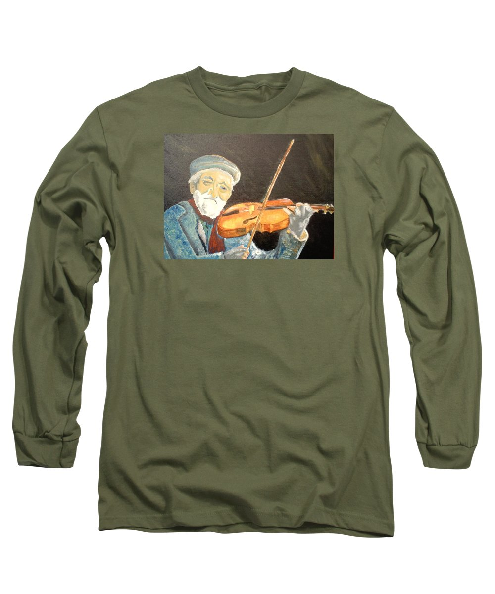 Hungry He Plays For His Supper Long Sleeve T-Shirt featuring the painting Fiddler Blue by J Bauer