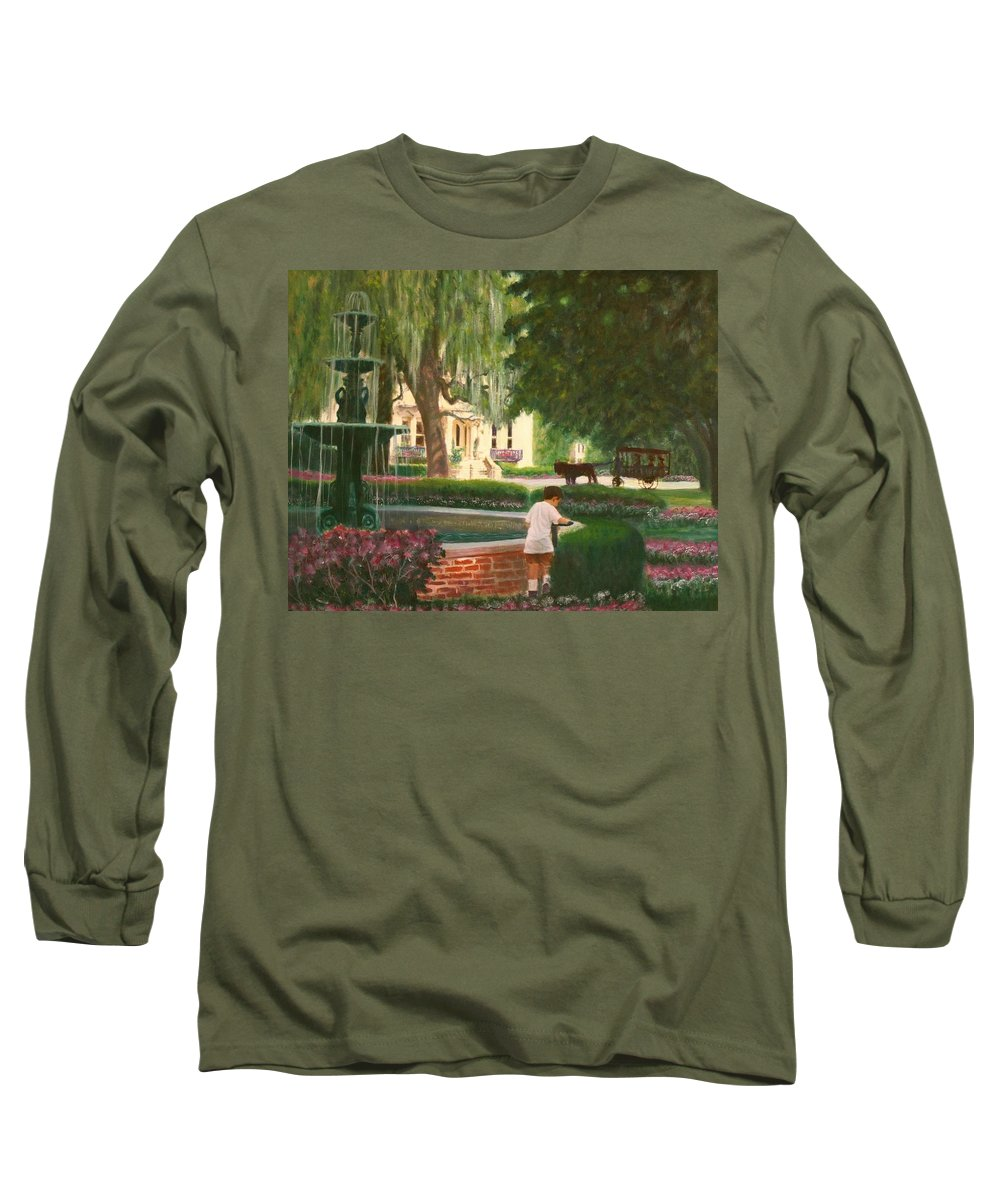 Savannah; Fountain; Child; House Long Sleeve T-Shirt featuring the painting Old And Young Of Savannah by Ben Kiger