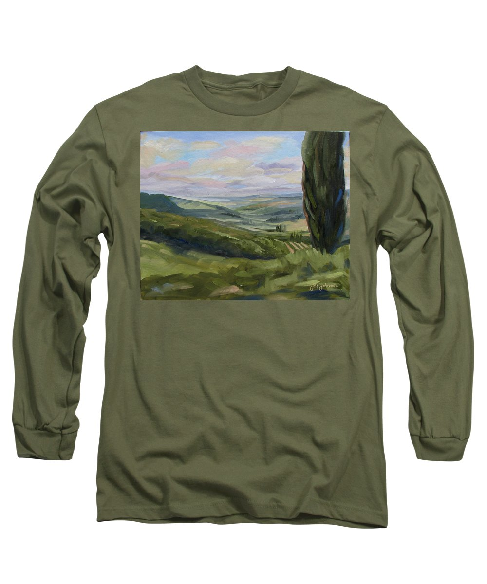 Landscape Long Sleeve T-Shirt featuring the painting View From Sienna by Jay Johnson