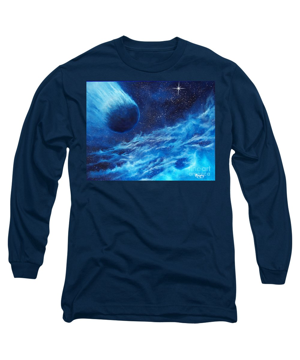 Astro Long Sleeve T-Shirt featuring the painting Comet Experience by Murphy Elliott
