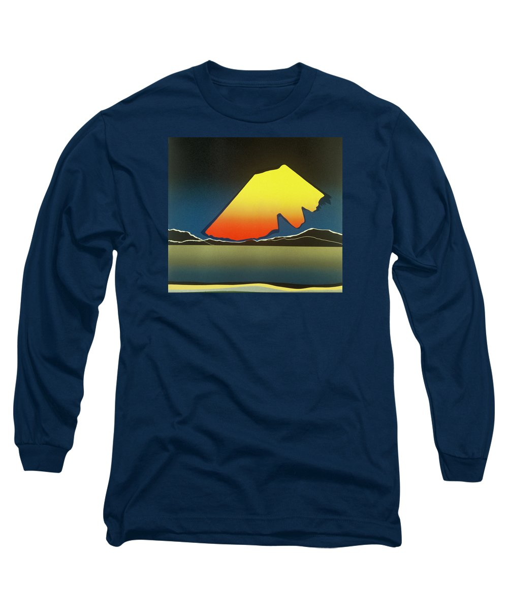 Landscape Long Sleeve T-Shirt featuring the mixed media Northern Light. by Jarle Rosseland