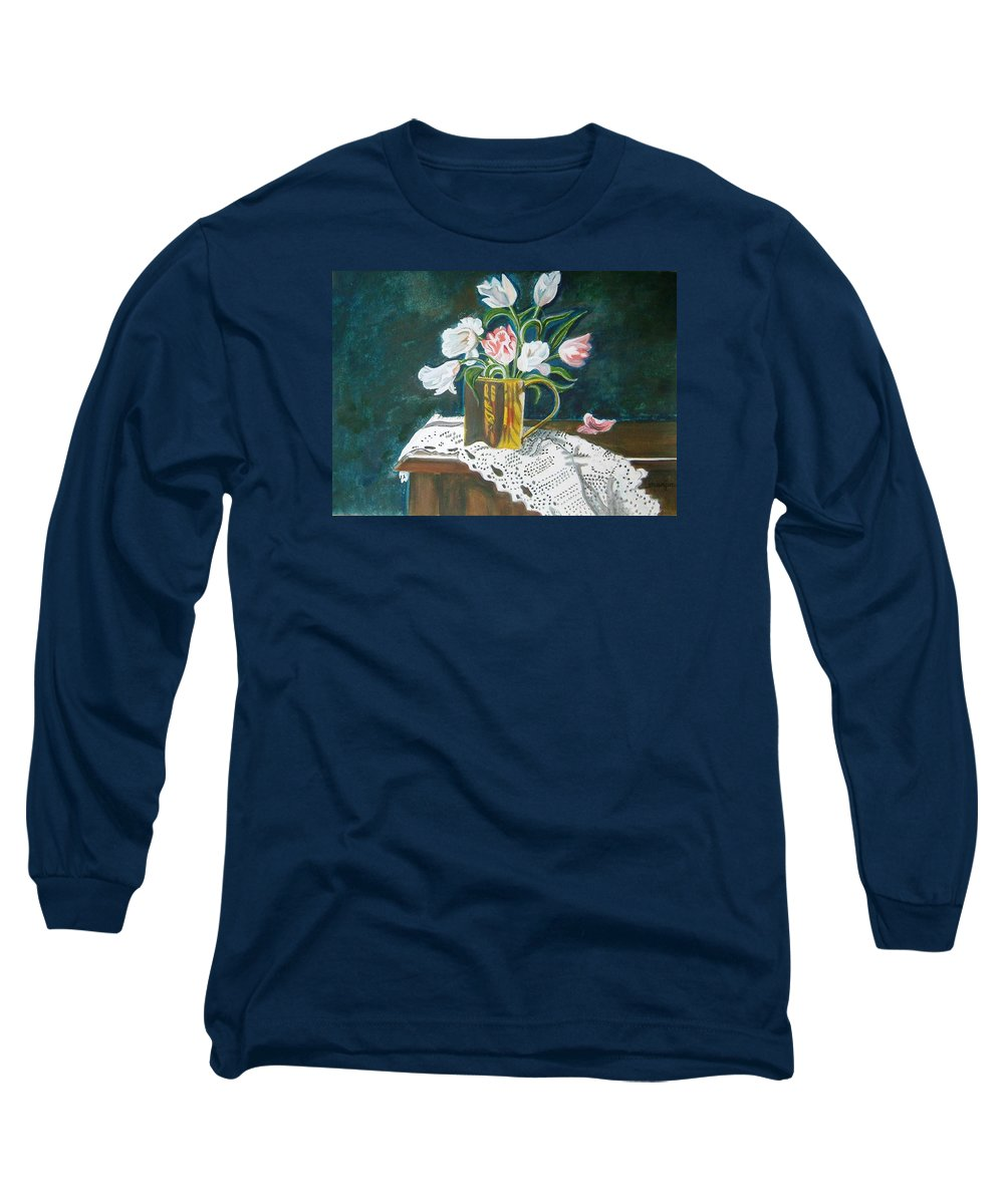 Tulips Long Sleeve T-Shirt featuring the painting Tulips by Manjiri Kanvinde