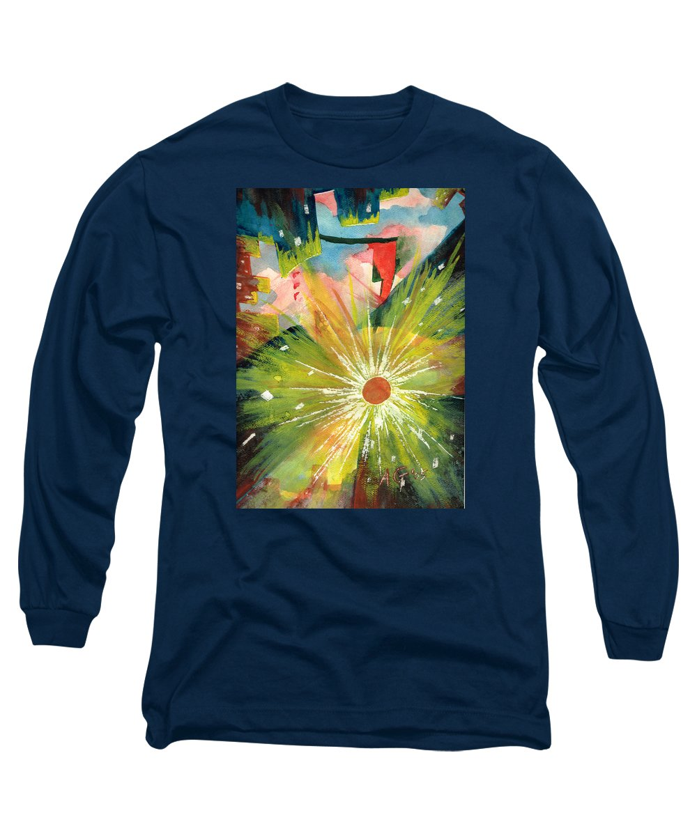 Downtown Long Sleeve T-Shirt featuring the painting Urban Sunburst by Andrew Gillette