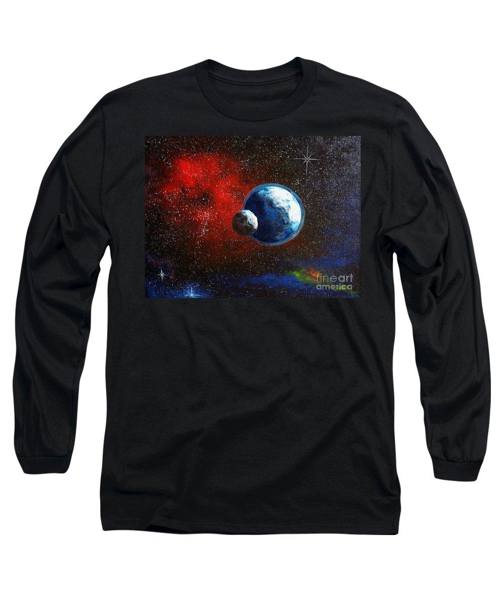 Astro Long Sleeve T-Shirt featuring the painting Broken Moon by Murphy Elliott