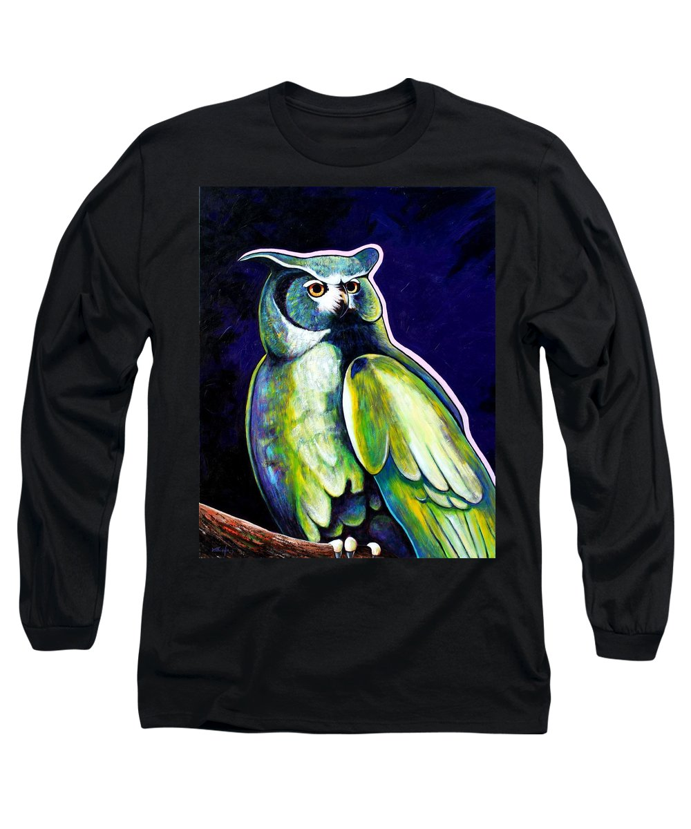 Owl Long Sleeve T-Shirt featuring the painting From The Shadows by Joe Triano
