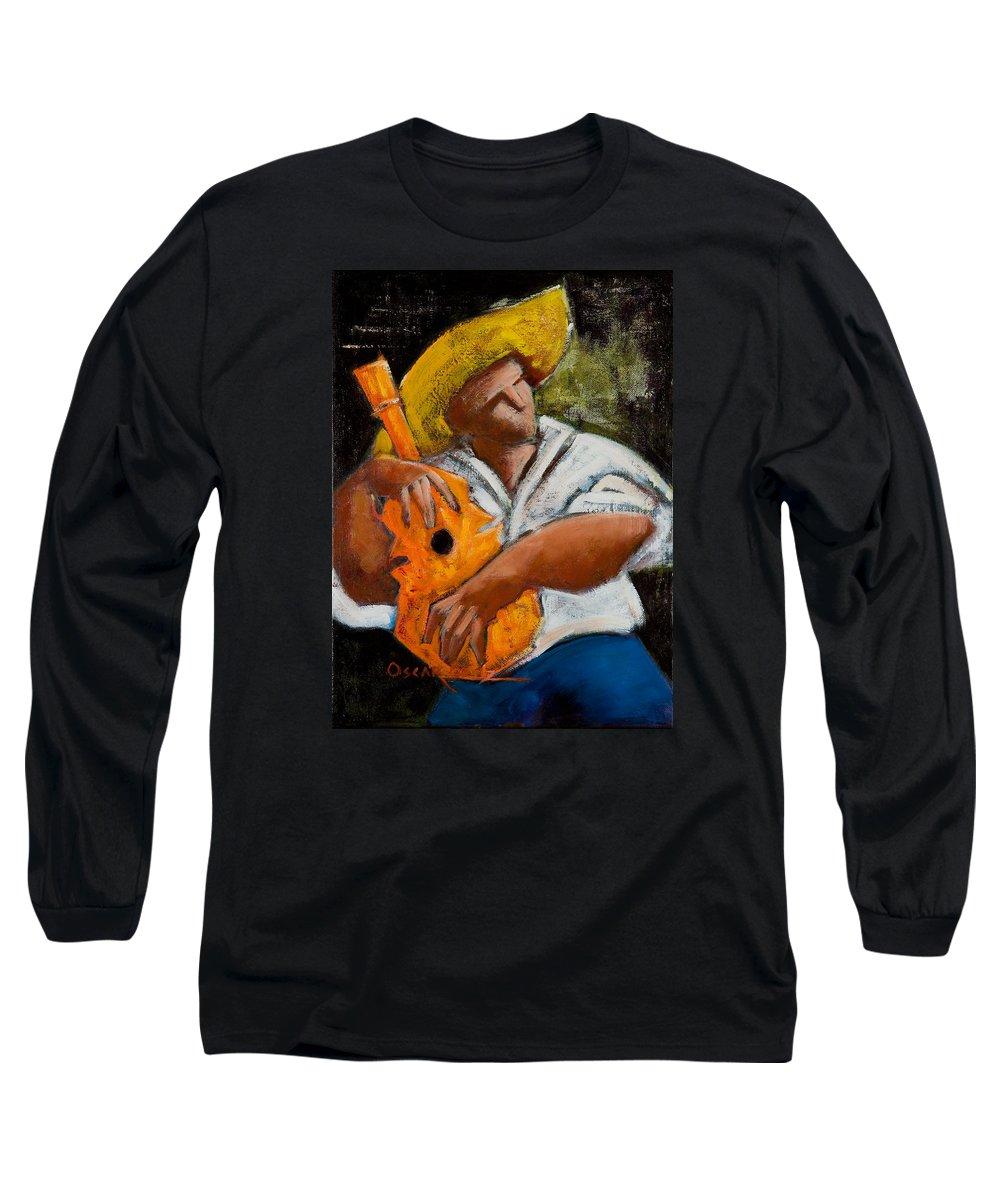 Puerto Rico Long Sleeve T-Shirt featuring the painting Bravado Alla Prima by Oscar Ortiz