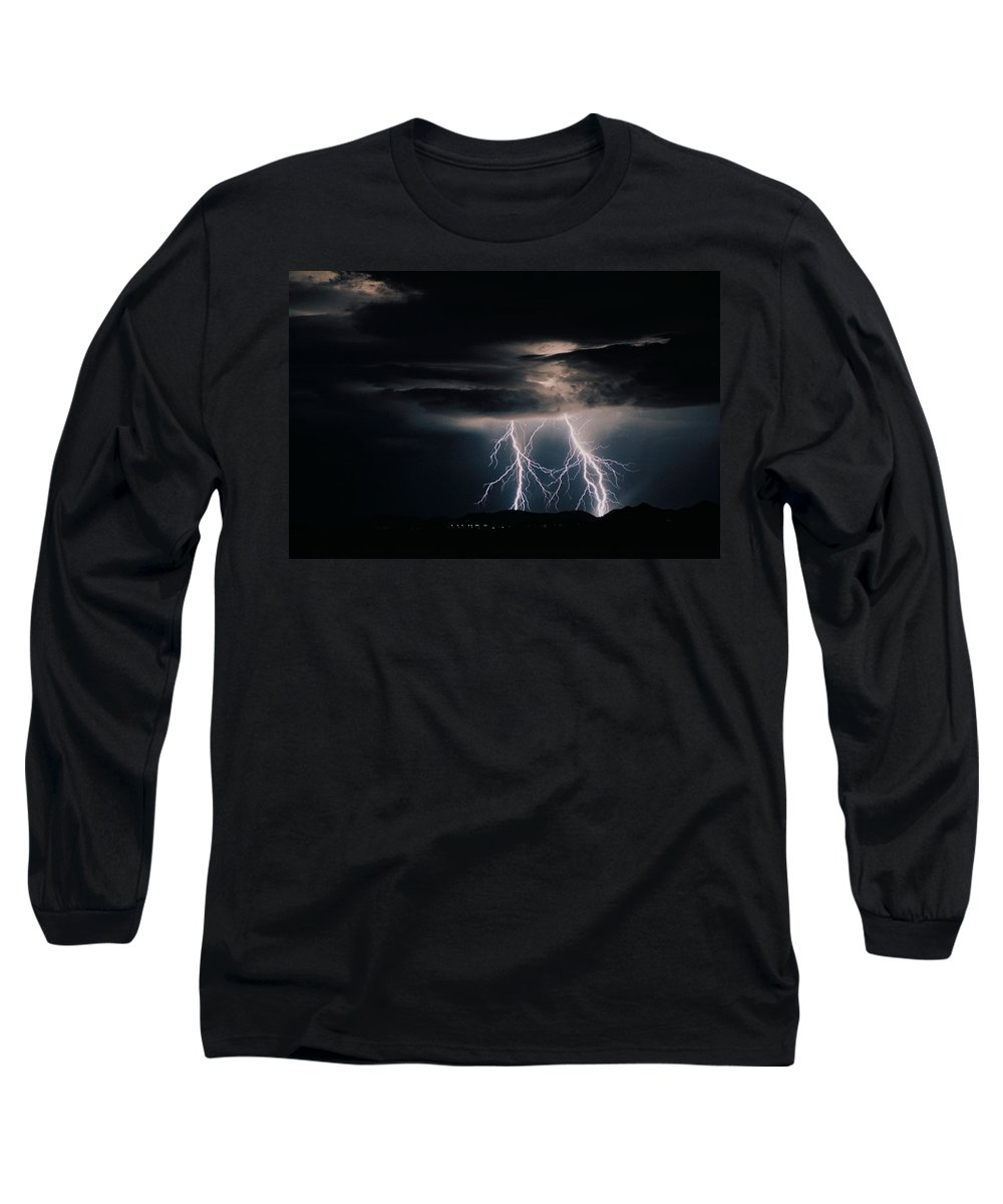 Arizona Long Sleeve T-Shirt featuring the photograph Carefree Lightning by Cathy Franklin